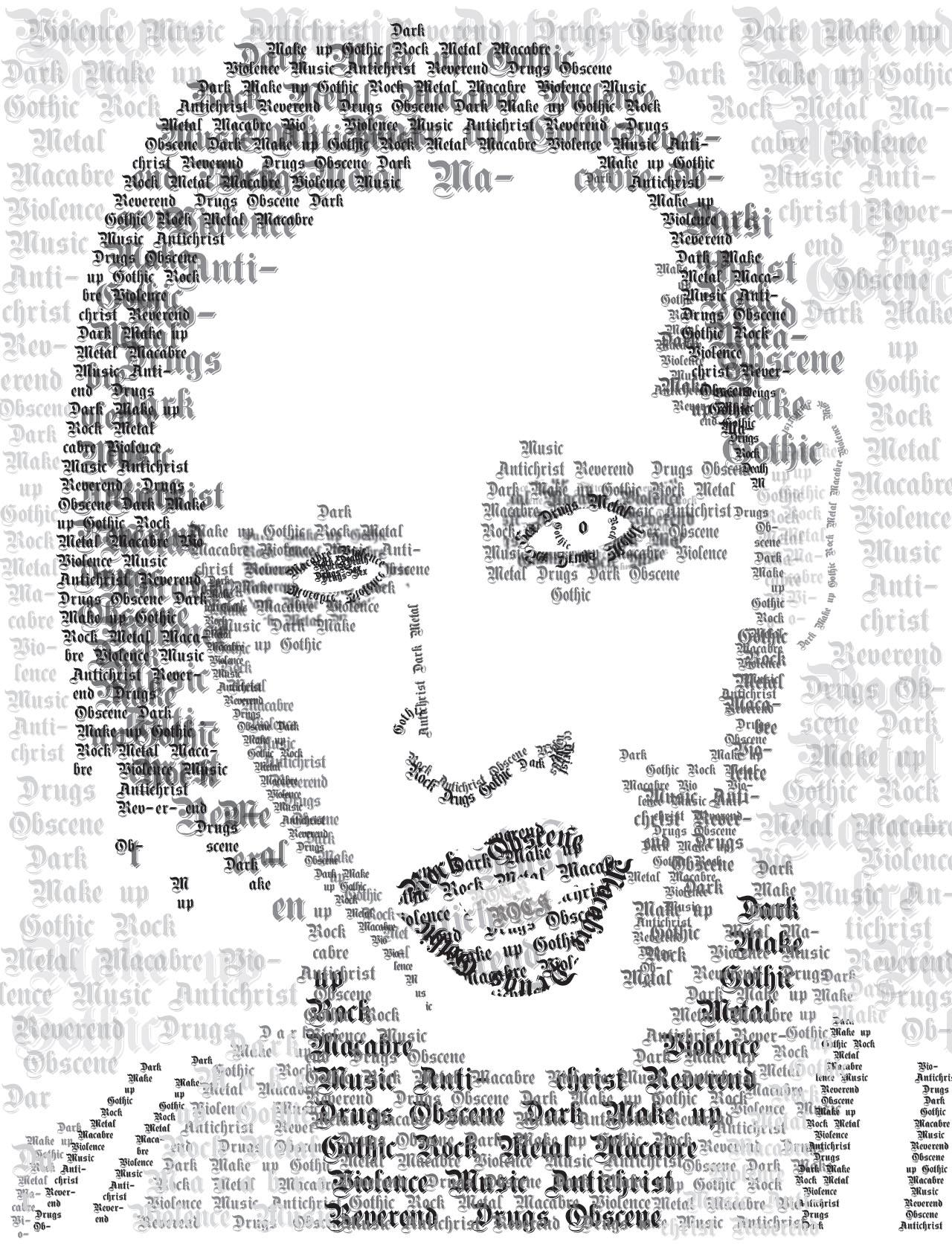 Retrato tipográfico de Marilyn Manson. Noemi Rivera